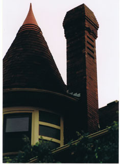 A chimney we tuckpointed to restore it to its original condition and stop water intrusion.