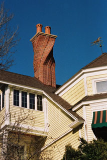 A view of the spiral chimney from the ground.