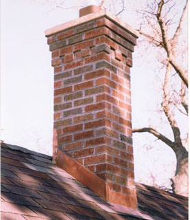 A chimney we rebuilt form the roof up following the original corbelled design.